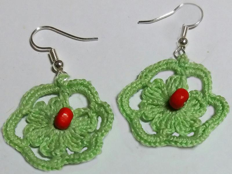 Pendientes flor verdes