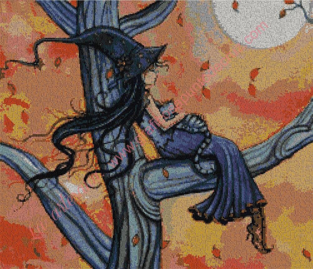Bruja descansando en un árbol