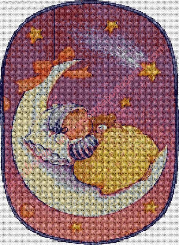 Bebé meciéndose en la luna