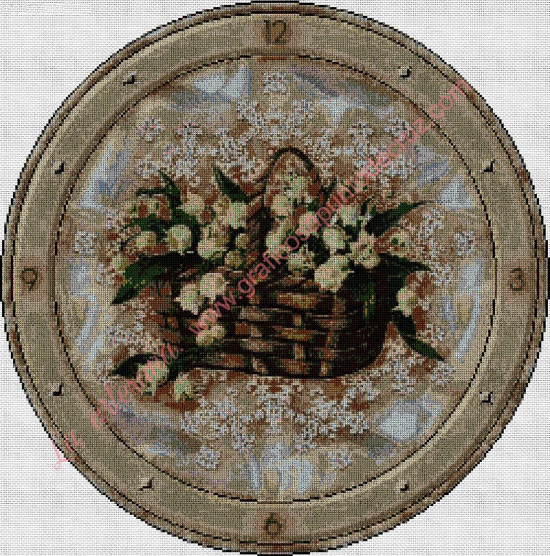 Reloj con cesta de flores