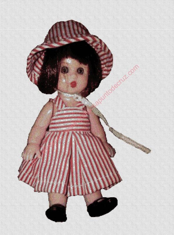 Muñeca Mariquita Pérez con vestidito a rayas
