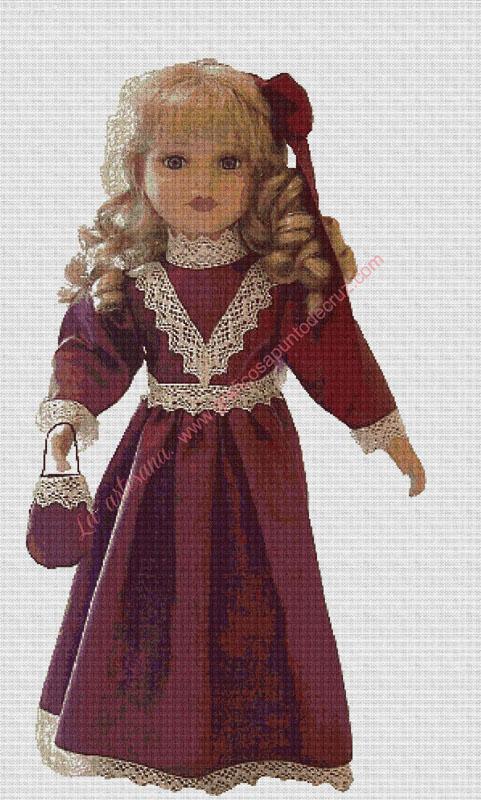 Muñeca vestido granate