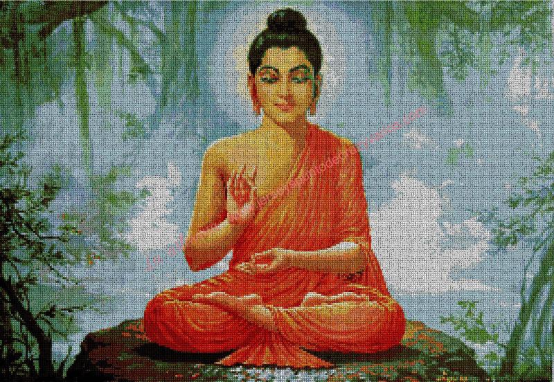 Buda meditando en un cuadro 54 x 38 cm