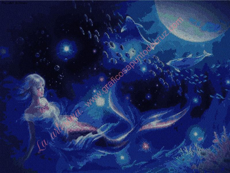 Sirena en el fondo del mar