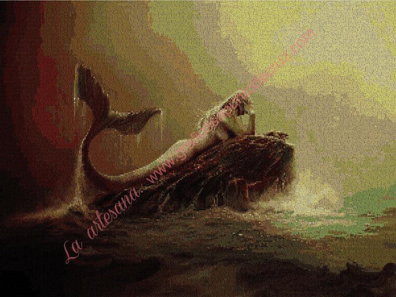 Sirena sobre una roca