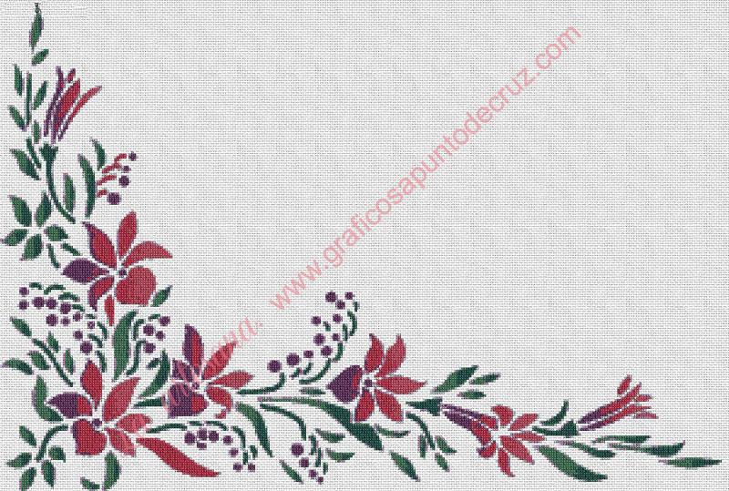 Gráfico a punto de cruz - Cenefa de flores rosas 54 x 37 cm
