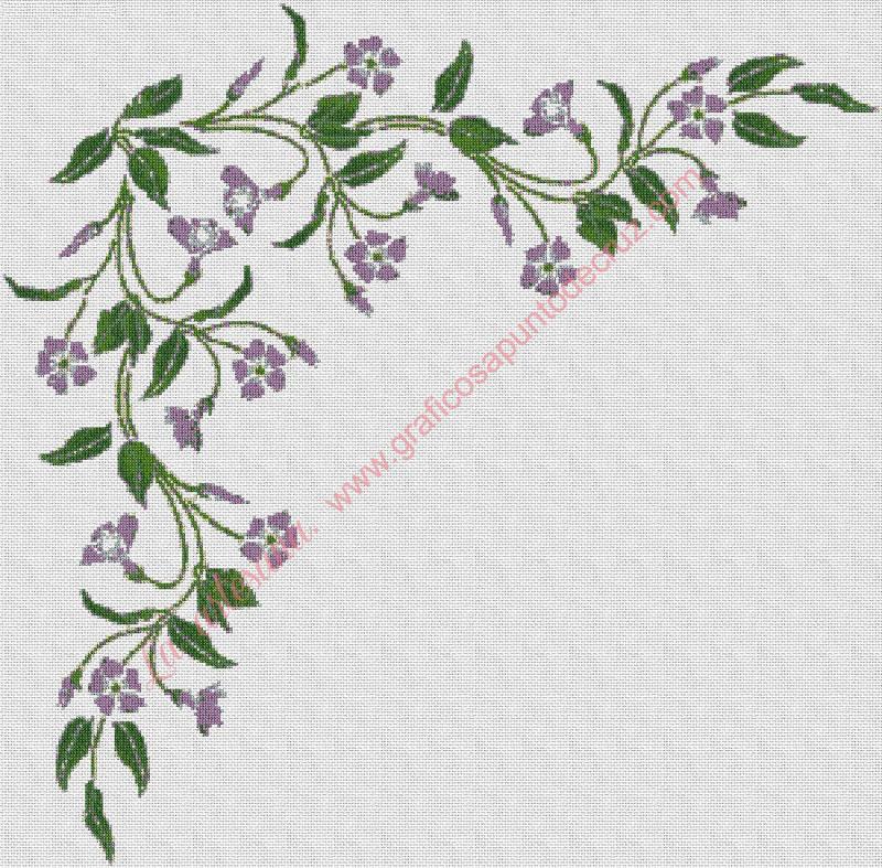 venta en internet gráfico a punto de cruz, Cenefa de flores, esquina