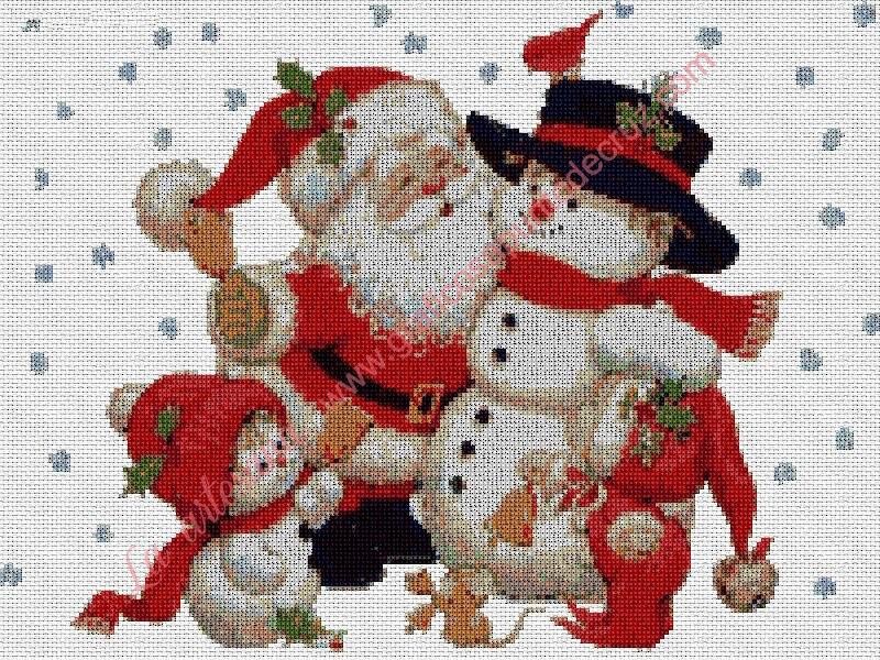 Papá Noel con muñeco de nieve