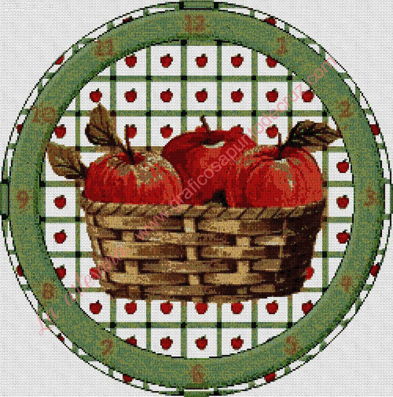Reloj con cesta de manzanas