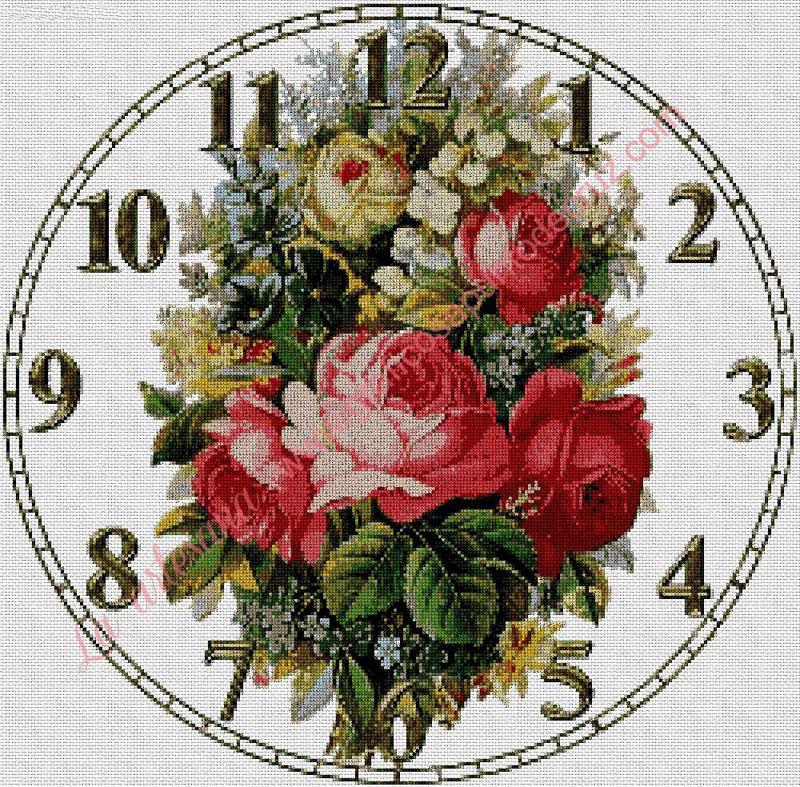 Reloj con un ramo de flores