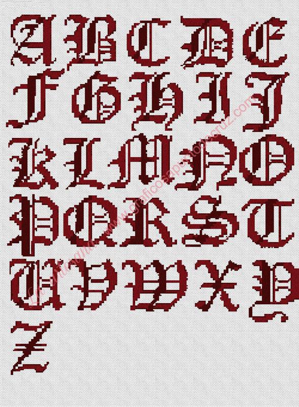 Abecedario en rojo oscuro en 2 tonos 45 x 62 cm